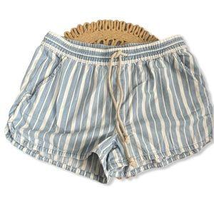 Aerie striped cotton shorts blue drawstring waist